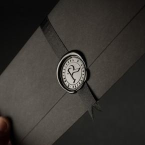 Elegante invitación de boda con el Sirio Black/White