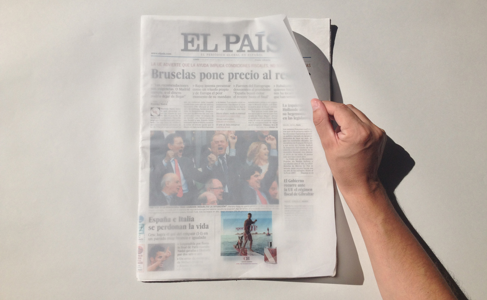 Una ingeniosa portada para 'El País' con Pergamenate Golden Star K de Fedrigoni